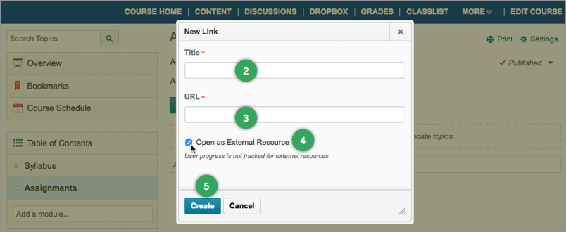 The Open as an External Resource checkbox for external hyperlinks in D2L's Content area