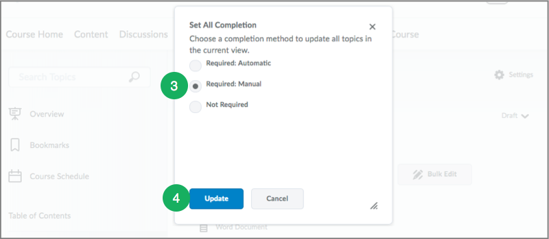 Setting Up Completion Tracking In D2l S Content Area Content