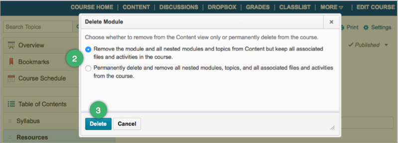 Options for deleting modules or topics from the Content area