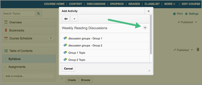 The Discussion Forum link in D2L's Content area