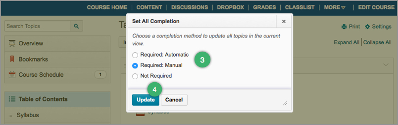 Selecting a completion option for the Table of Contents