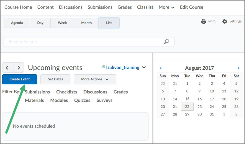 adding calendar events in d2l course home tools desire2learn