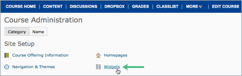 Access widgets page from Site Administration