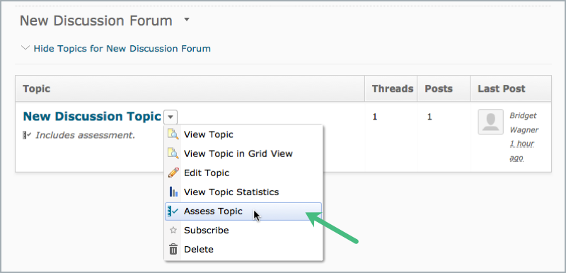 Access assess topic area from discussion topic dropdown menu