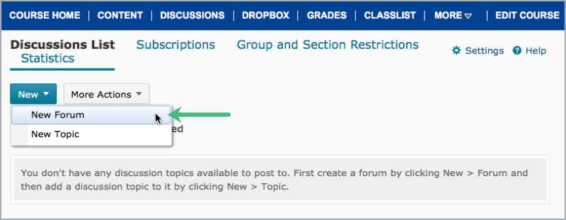 Create new discussion forum