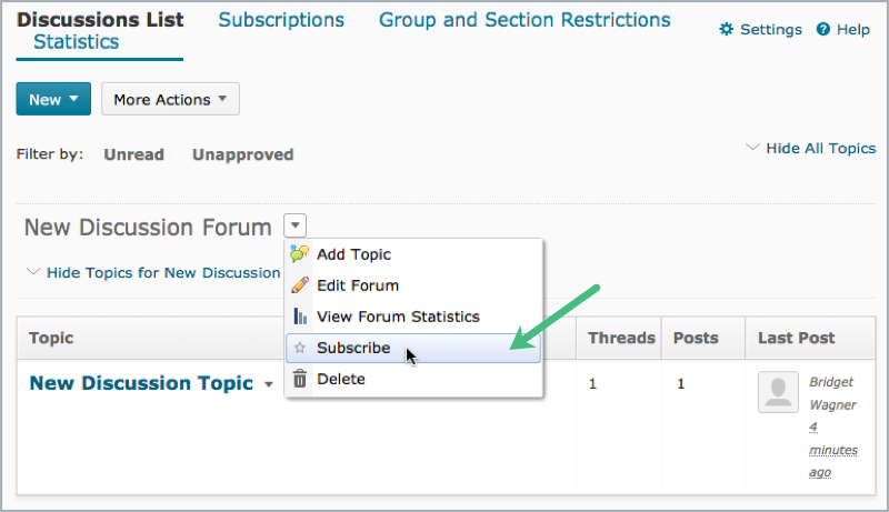 Subscribe to a discussion forum