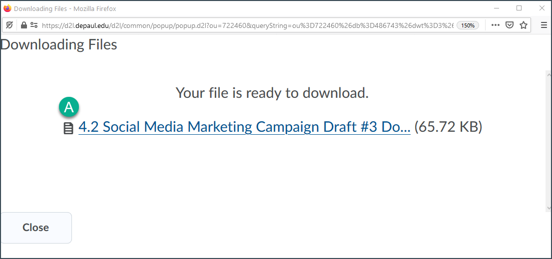 Visual of the link to the zip file created via the bulk download process.