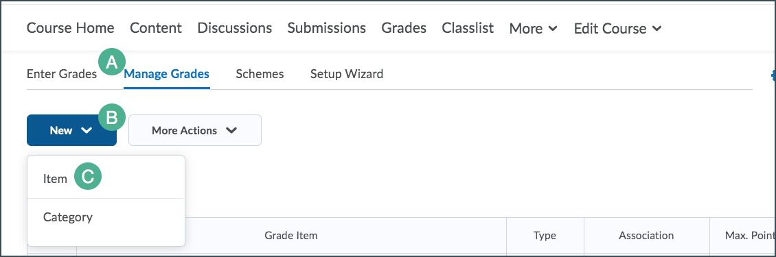 Create grade items menu options with item option highlighted