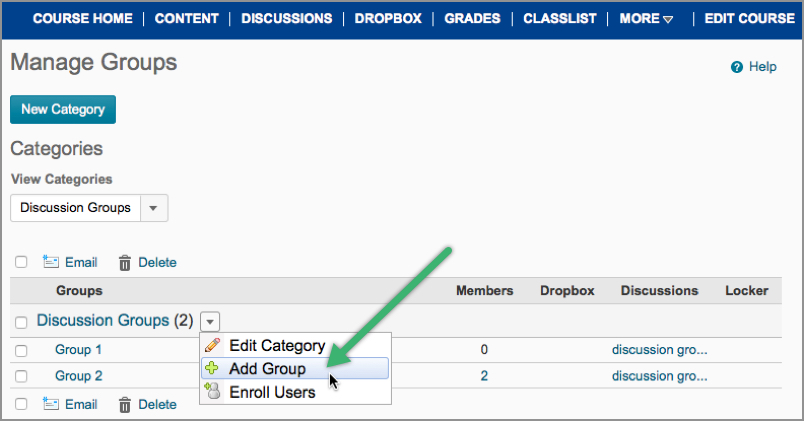 Add Groups to a Category