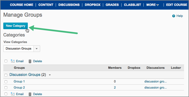 New Category button in D2L's Groups area