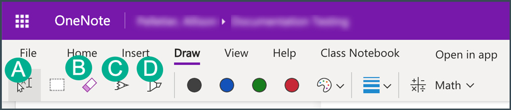 annotation tool icons in onenote