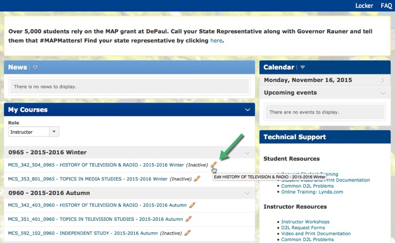 Pencil icon for course activation on the D2L home page