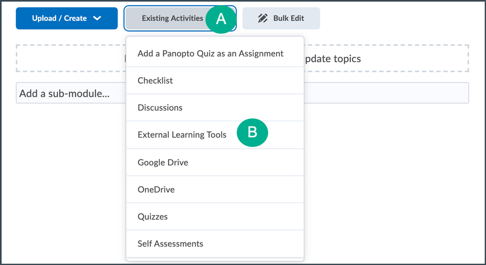 external learning tools dropdown menu