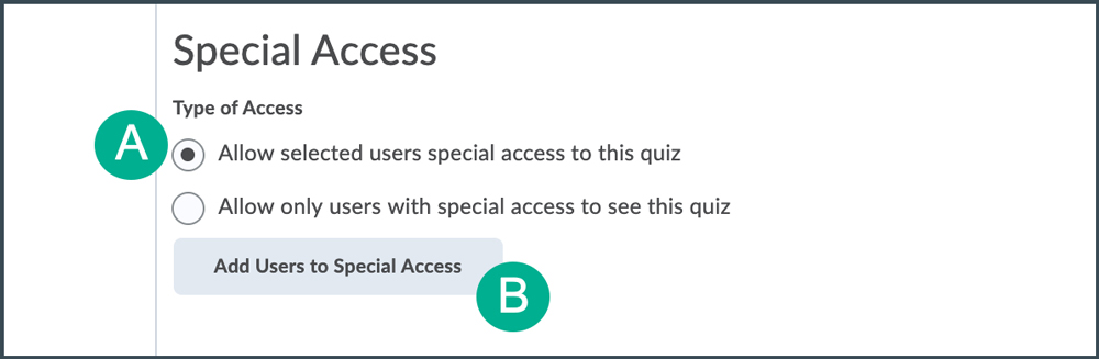button to add special access
