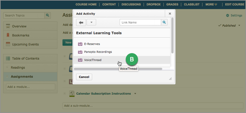 External Learning Tools options