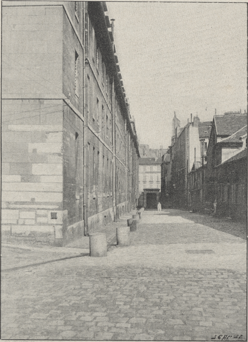 Exterior view, facing east, interior passageway
