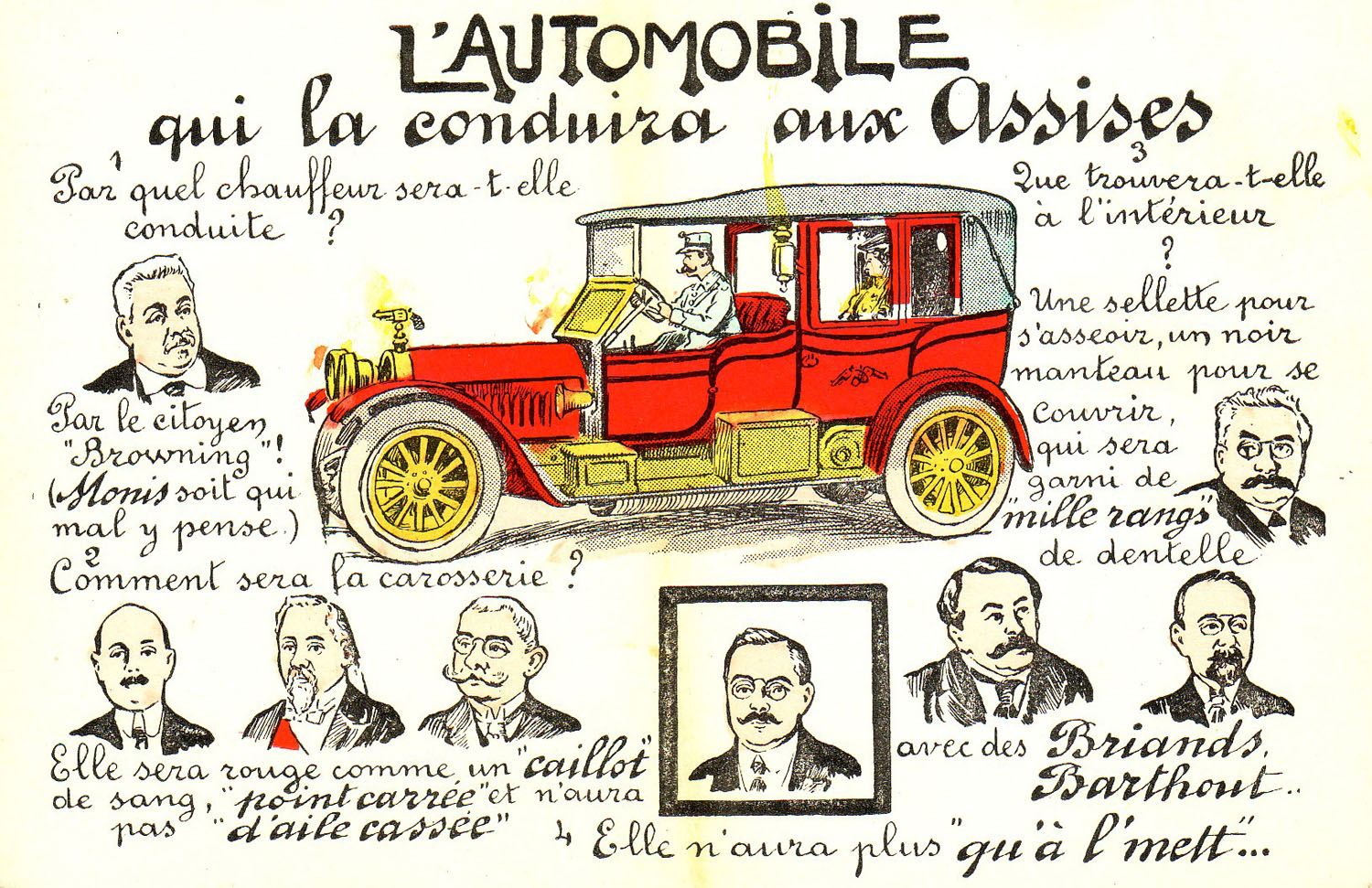 """L'Automobile qui la conduira aux Assises"" ""The Automobile which will drive her to the Court of the Assises"""