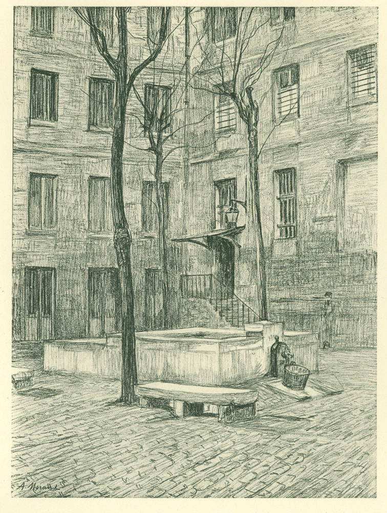 Exterior view, central courtyard, water well