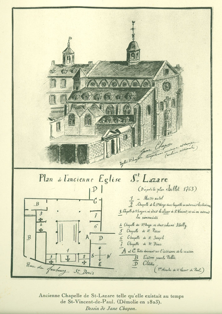 Plan for the ancient chapel of Saint-Lazare