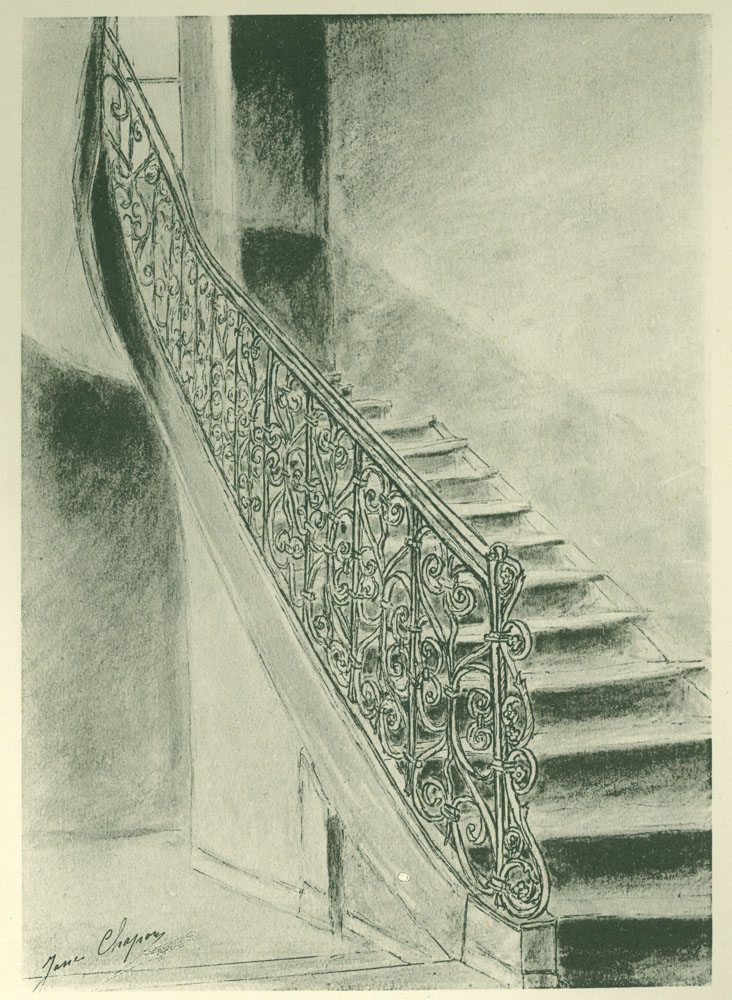 Stairway with iron railing