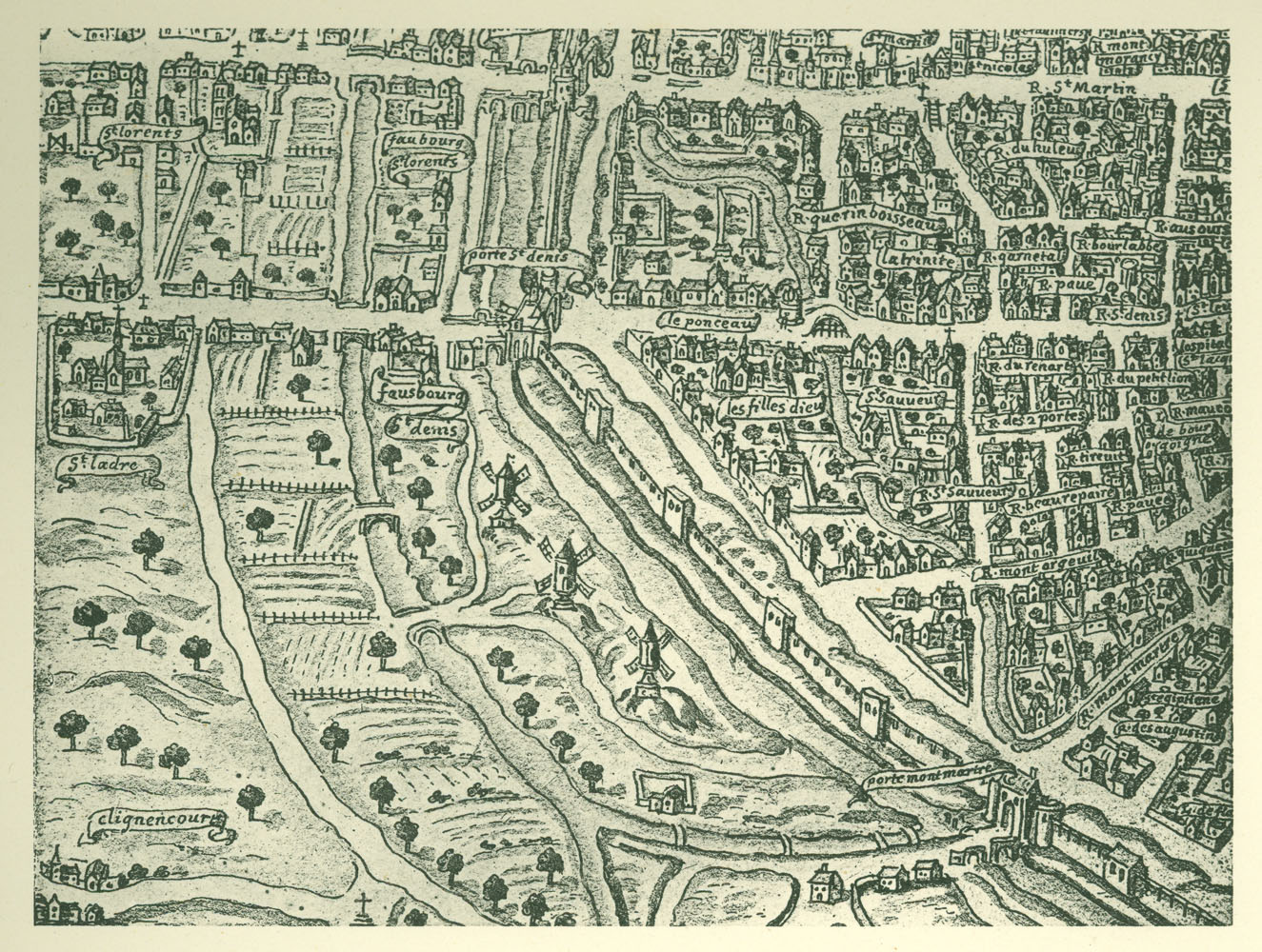 Fragment from the Tapisserie map of Paris